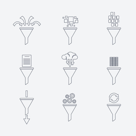 Vector filter line icons Vektoros illusztráció