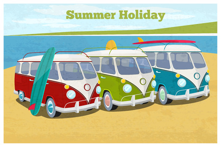 carriages: Summer travel design with camper van