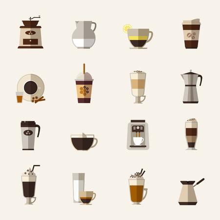 preparation: Coffee flat icons