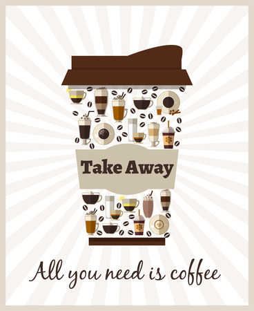 takeout: Take-out or takeaway coffee poster