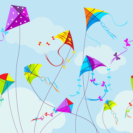 fly: Vector illustration of colorful kites and clouds in the sky. Horizontal seamless pattern