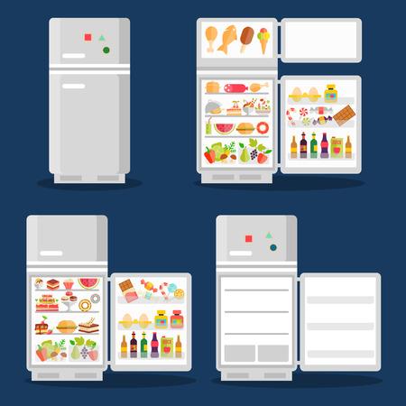 refrigerador: Inaugurado refrigerador con comida en estilo plano Vectores
