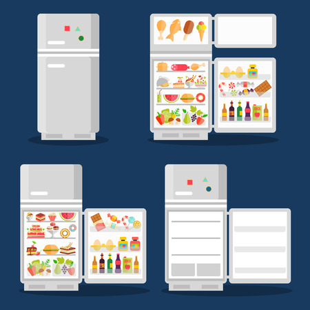 open: Opened refrigerator with food in flat style Illustration