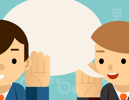 talk to the hand: Speaking  listening. One man holds hand his ear and other says