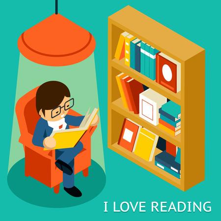 reading lamp: I love reading, 3d isometric illustration