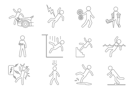 leg bandage: Vector people line icons in a variety of common accidents
