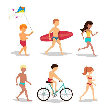persona caminando: Gente en la playa en el diseño de estilo plano
