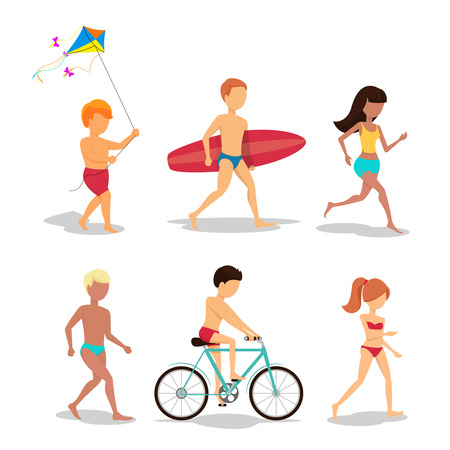surfer: People on the beach in flat style design