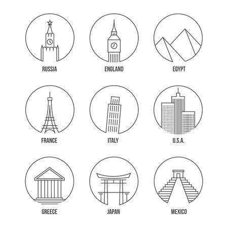 city buildings: World landmark line art icons set