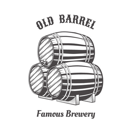 wooden barrel: Logo design with wooden beer barrels for pab