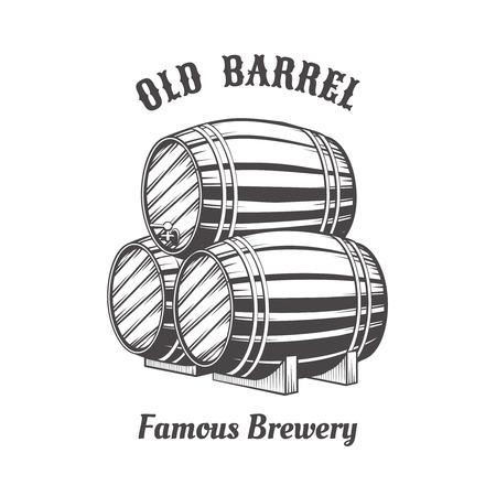 distillery: Logo design with wooden beer barrels for pab