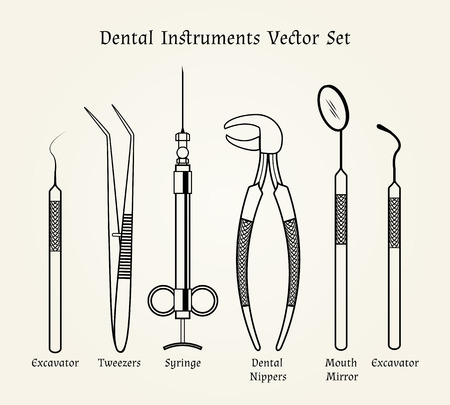 Vintage dentist tools. Medical equipment in retro style Ilustração