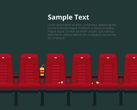 cinema auditorium: Vector cinema chairs poster with sample text