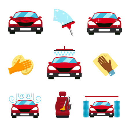 wet cleaning: Vector set of car washing flat icons