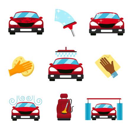 autolavaggio: Vettore di set di icone piane lavaggio auto