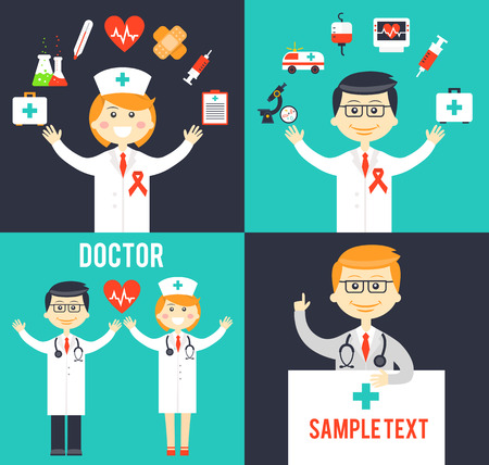 medical cross symbol: Doctors with medical icons posters