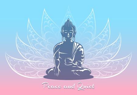 buddha lotus: Buddha sitting in lotus pose Illustration
