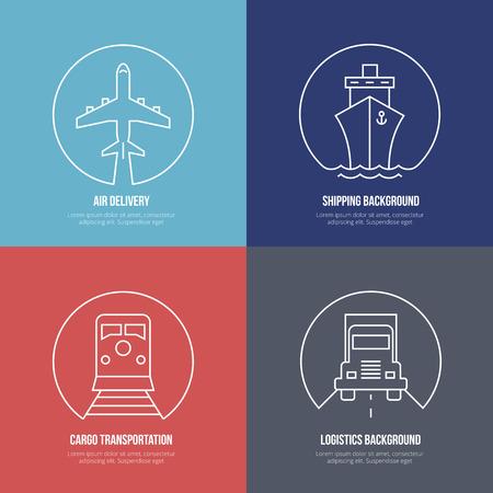 транспорт: Иконки логистики линии. Воздушная почта перевозка грузов, доставка груза и