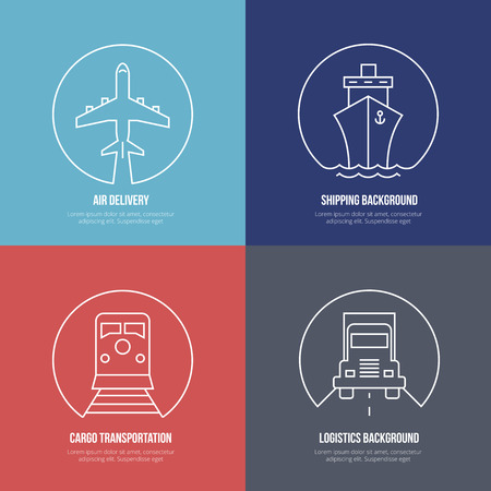 global logistics: Logistics line icons. Airmail cargo transportation, delivery and shipping Illustration