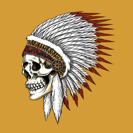 american indian aztec: Vector indian skull