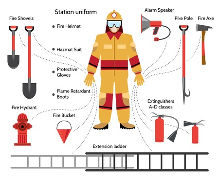 extinguishing: Vector firefighter with extinguishing icons
