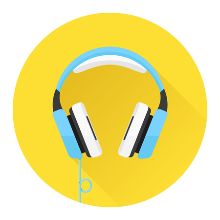 Headphones flat icon Çizim