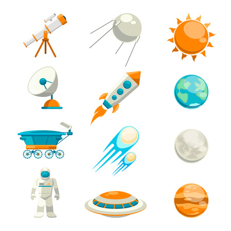 space robot: Vector flat space icon set