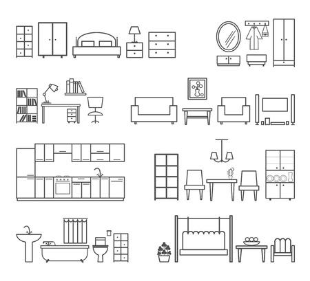 Thuis pictogrammen. Meubilair voor verschillende kamers