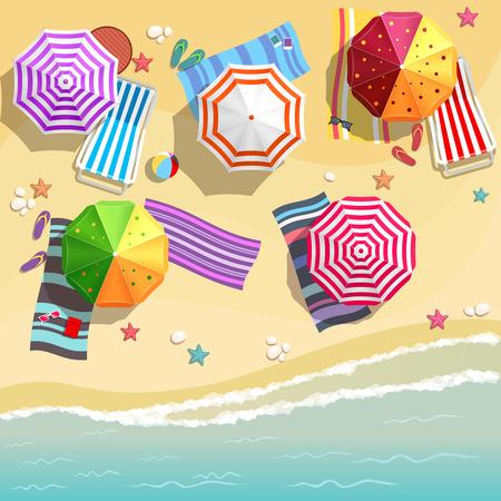 경치: 평면 디자인 스타일에서의 여름 해변의 공중보기