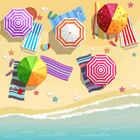 beach chairs: Aerial view of summer beach in flat design style