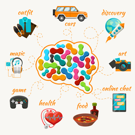 Vector brain with thoughts icons Illustration