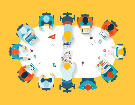 Teamwork. Business brainstorming top view Illustration