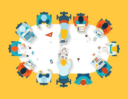 Teamwork. Business brainstorming top view Vectores