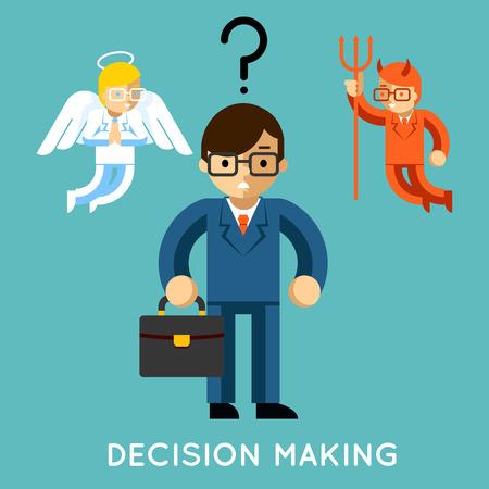 demonio: Toma de decisiones. Hombre de negocios con ángel y demonio