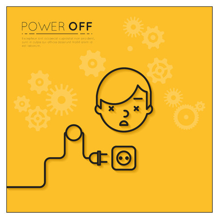 power off: Power off. Disconnected man Illustration