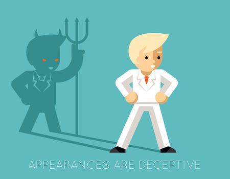 swindler: Light businessman and shadow devil. Appearances are deceptive Illustration