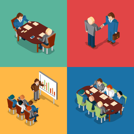 office presentation: Isometric 3D business people icons. Meeting and job interview, deal handshake and presentation, teamwork and brainstorm, collaboration and coworker, conference office, vector illustration