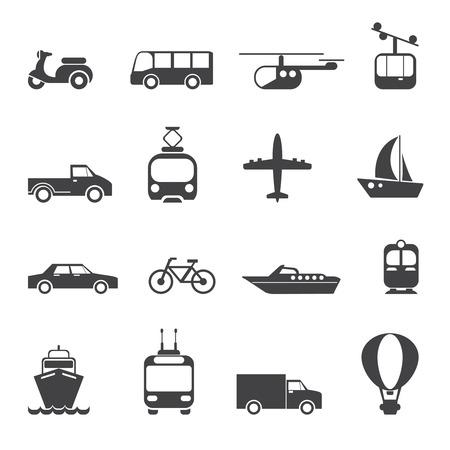 Transportation iconen set. Auto motorfiets trein bus ballon lift boot tram, vector illustratie