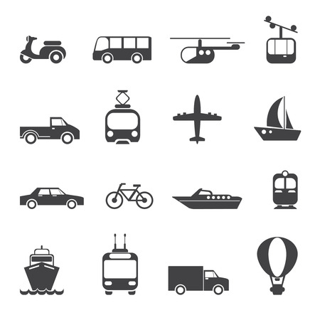 Transportation icons set. Car motorcycle train bus balloon lift boat tram, vector illustration Ilustracja