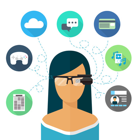 VIRTUAL REALITY: Woman wearing glasses augmented reality. Flat icon. Virtual internet, communication and music, chat and shopping online, vector illustration Illustration