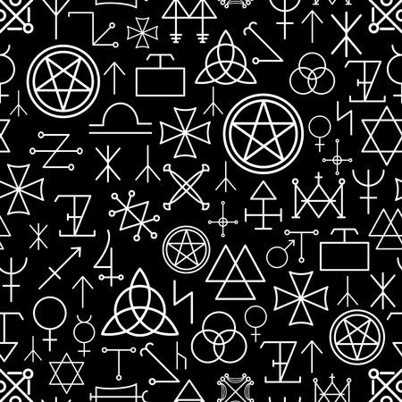 mystical: Mystical seamless pattern on black background