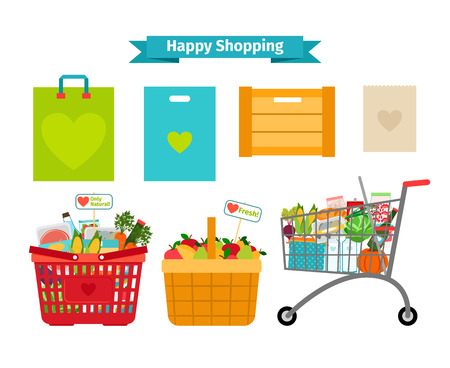 grocery cart: Happy shopping concept. Only fresh and natural food Illustration