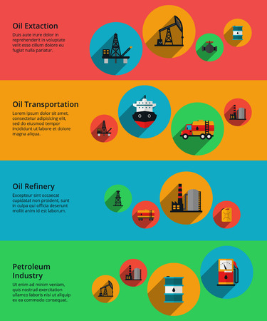 vessel: Oil production, petrolium industry, production transportation and processing. Refinery and extaction, transportation petroleum. Vector illustration