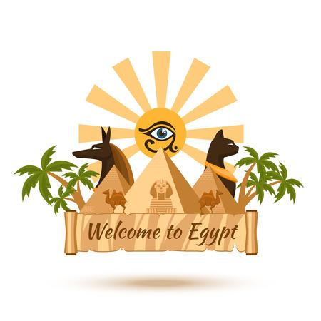 pyramid egypt: Egypt travel poster element