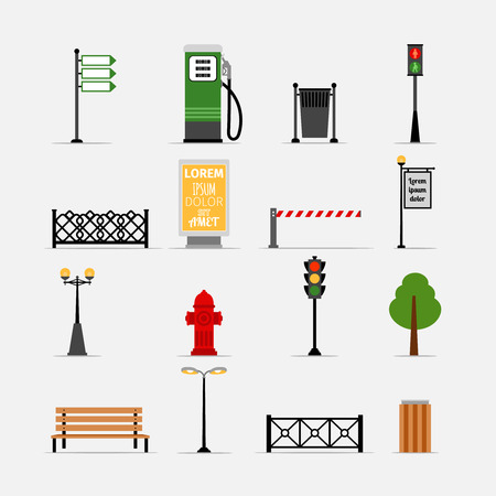 street signs: Vector street element icons