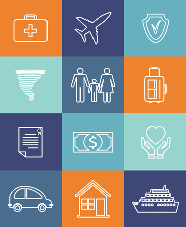 home insurance: Family auto and home insurance flat icons Illustration