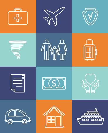 Iconos planos de automóviles de la familia y de seguros de hogar Ilustración de vector