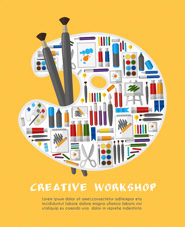 art and craft equipment: Art workshop with palette template. Objects for paint, colorful paintbrush, instrument and draw, vector illustration