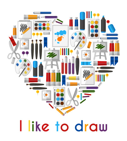 pallette: I like to draw. Heart of pencils and paintbrushes. Pencil and tool, love drawing, brush and pallette, vector illustration