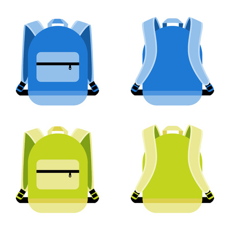 knapsack: Schoolbag icon set. Satchel and container, daily portable knapsack, vector illustration Illustration